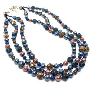 🆕Vintage Triple-Strand Blue Glass Bead Necklace